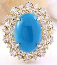 7.18 Carat Natural Turquoise 14K Solid Yellow Gold Diamond Ring