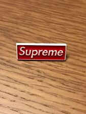 Supreme Box Logo BOGO Pin Badge Brooch Rubber Backing White Red