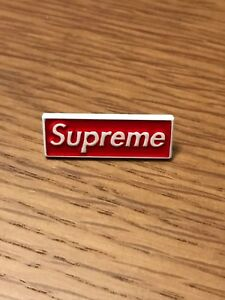 Supreme Box Logo BOGO Pin Badge Brooch Rubber Backing White Red