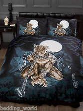 Loups garou lit simple housse de couette Alchemy Gothic Loup-Garou Loup Lune Bleu chauves-souris