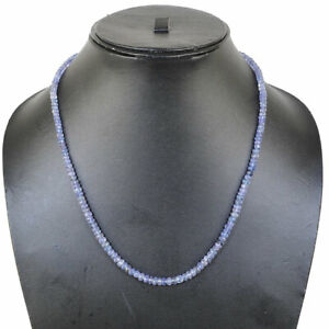 18 Inch Single Strand Natural Tanzanite Faceted Beads Necklace 925 Silver Clasp
