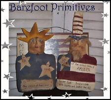 Primitive Americana Lady Liberty Uncle Sam Stump Doll Make Do Paper Patten