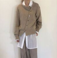 Asymmetrical Womens Casual Sweater Buttons Closure Knitted Fabric Cardigan Style