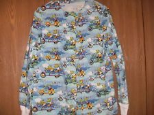 ladies size (s) hand made frogs button front long sleeve scrub top