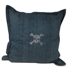 "Ralph Lauren Rhinestones Skull Jean Denim Throw Pillow Decoration 18"" NWOT"