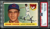 1955 Topps Baseball #45 HANK SAUER Chicago Cubs UER ERROR PSA 5 EX