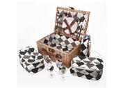 Savisto 4 Person Luxury Wicker Picnic Basket Hamper Box, Vintage Summer Set New
