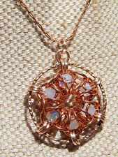Hand-Made Chain Maille Copper Medallion & captured Crystal Beads Long Necklace