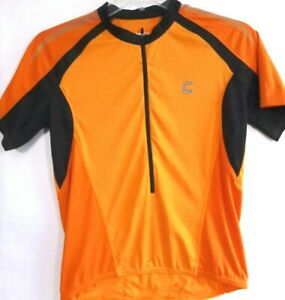 Cannondale-Mens Short Sleeve Cycling Jersey, Large, 3/4 Zip, Orange, 3 Pockets