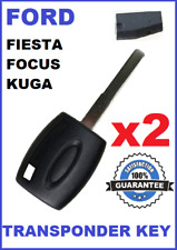 2x FORD FOCUS FIESTA KUGA TRANSPONDER CAR KEY 2005 2006 2007 2008 2009 2010 2014