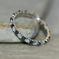 1Ct Round Blue Sapphire and white Diamond Full Eternity Band 14K White Gold FN