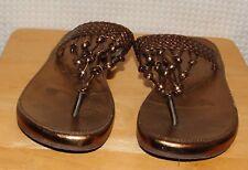 ROCKPORT Gold Woven Braid Thong Sandal Flip Flop Women's sz 5 M