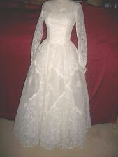 1950'S 50'S VINTAGE WHITE CHANTILLY LACE & TULLE WEDDING DRESS S 6 VGC