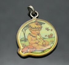 Vintage Mary Engelbreit Meink Child With Animals Sterling Silver Pendant Mexico