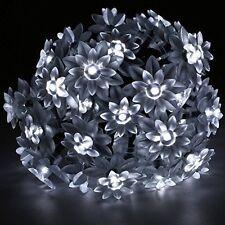 50 LED BRIGHT WHITE LED GARDEN MAINS FLOWER PETAL OUTDOOR STRING LIGHTS 240V