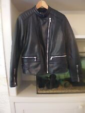 ZARA PU / FAUX / VEGAN LEATHER BLACK BIKER JACKET - ZIPS - PADDED SHOULDERS - M