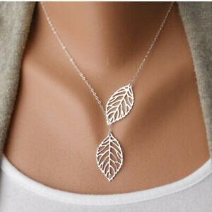 Women's Chain Necklace Fashion 2 Leaf Pendant Choker female jewelry Silver/Gold