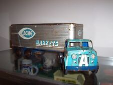 """1950s MARX ACME GROCERY STORE Toy TRACTOR TRAILER 28"""" Pressed Steel Orig."""