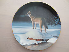 Solitary Hunter Wolf Plate Winter Guardians Collection Bradford Exchange Smith