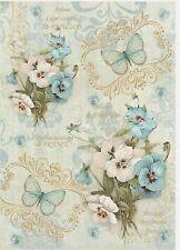Rice Paper for Decoupage Scrapbook Craft Sheet Vintage Blue Violets