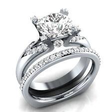 Engagement Ring Set 14K White Gold Euro Shank Ring 2.50Ct Round Real Moissanite