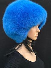 SALE! Oversized Fox Fur Full Round Hat Saga Furs Light Bright Blue Fur Hat