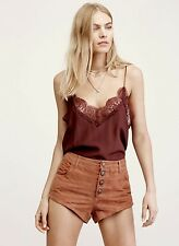 NEW $198 Free People rusty brown Short Super Soft Suede Button Fly Shorts XS