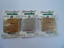 Madeira Glissen Gloss - Pack of 3 Gold and Silver 5 m Braid