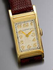 Early 14K Gold Rectangular Waltham Wrist Watch w/21 Jewel Riverside Movt CA1920s
