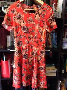 Miss Selfridge Burnt Orange Floral Knee Length Short Sleeve Dress Size Euro 34