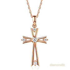 Fine 14K Rose Gold Cross Pendant Necklace 0.21 Ct Diamond 585 Jewelry