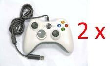 2 x Old Skool Wired XBOX 360 & PC Dual Analog Rumble Controllers - White