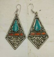 Sterling Silver Earring handmade Tibetan Hook Turquoise coral earring ERP