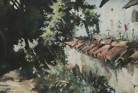 Monogrammiert JW - Kirchenmauer mit Friedhof