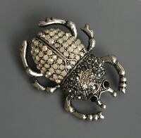 Beetle brooch Pin In enamel on Metal with crystals