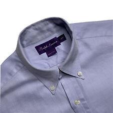 S Ralph Lauren Purple Label Light Blue Herringbone Slim Fit Shirt Made Itally