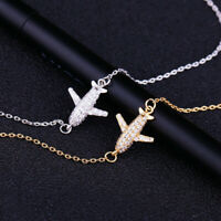 Trendy Women Fashion Jewelry Elegant Zircon Crystal Air Plane Bracelet Chain