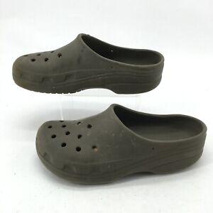 Crocs Slip On Casual Comfort Clog Mules Mens 8 Womens 10 Grey Croslite Rubber