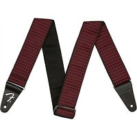 "Genuine Fender 2"" Houndstooth Jacquard Guitar Strap, Red"