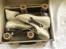 Vintage Chicago Roller Skate Co Ware Bros Wooden Wheel Skates Size 9 with case