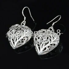 Heart Drop Dangle Hook Love Earrings Women 925 Sterling Silver Hollow 3D