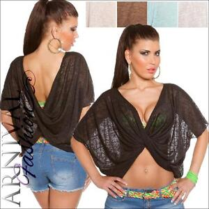 SEXY SHORT SLEEVE wrap CROP TOP XS S M L XL WOMENS SHIRT knitted tops OVERSIZED