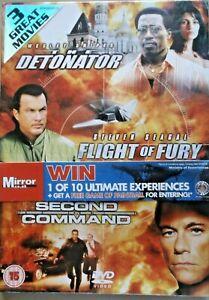 THE DETONATOR/FLIGHT OF FURY/SECOND IN COMMAND -  DVD - NEW/SEALED - 3 film set
