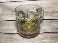 Vintage Luminarc Glass Twelve Days of Christmas Mug Five 5 Golden Rings!