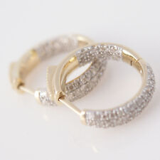 Beautiful New 14k Solid Yellow Gold Huggie Inside Out 1.11ct Diamond Earrings