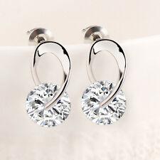 1 Pair Women Silver Plated Crystal Rhinestone Zircon Crystal Stud Earrings New