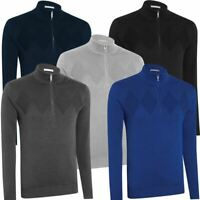 ASHWORTH CHEST DIAMOND TEXTURE THERMAL SWEATER GOLF PULLOVER (LINED) 75% OFF RRP