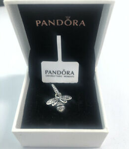 ALE S925 Genuine Silver Pandora Sparkling Queen Bee Pendant Charms Gift With Box