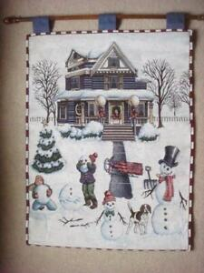 NEW~ CHRISTMAS VICTORIAN HOUSE SNOWMEN CHILDREN TAPESTRY WALL HANGING W/WOOD ROD