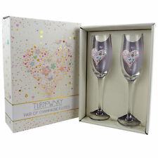Set Deux Champagne Flûtes, Mariage, Fiançailles, Anniversaire Cadeau Romantic P